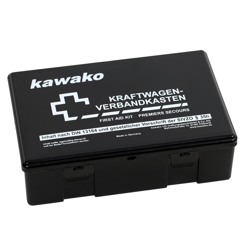 kawako kfz verbandskasten nach neuer din 13164 2014 g ltig ab 01 2014 in schwarz ebay. Black Bedroom Furniture Sets. Home Design Ideas